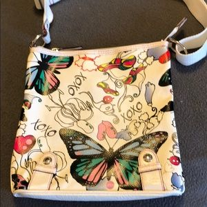 XOXO White with butterflies crossbody bag